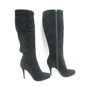 VALENTINO black suede bow detail heeled boots sz37